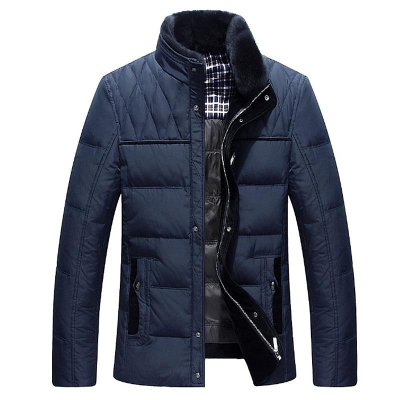 Mâle D'hiver vestes hommes chaud épais col de fourrure Édredon manteau de mode parkas hottes M-3XL Marque blanc canard veste De Mode