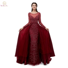 Luxury Mermaid Evening Dresses Trail 2019 Wine Red Hunter Green Navy Blue Prom Gown Taffeta Long Sleeves Beading Party Wear