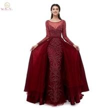 5e0bfc366 De Lujo sirena vestidos de noche Trail 2019 vino rojo verde azul marino  vestido de fiesta de tafetán largo mangas cordón ropa de.