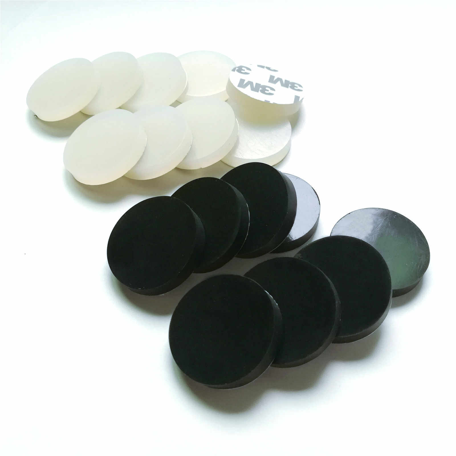 Anti Slip Silicone Rubber Pads 30mm Round Furniture Feet Mat White Black Color Self Adhesive