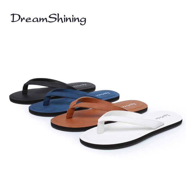 929f9d77eb7 DreamShining Simple Women Leather Slippers Summer Tourist Sandals 4 Colors  Fashion Casual Flip Flops Rubber Slippers For Ladies
