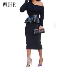 WUHE Black PU Leather Patchwork Sexy Bandage Work Dress Women Off Shoulder Long Sleeve Wrap Autumn Bodycon Party Dresses
