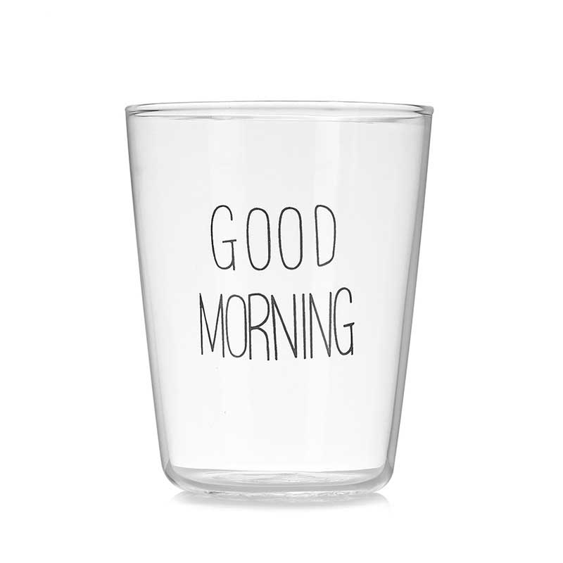New 400ml Brief Style Good Morning Glass Breakfast Cups Glassware Lovely Cups & Mugs for Milk Smoothie Breakfast Drinkware BS