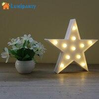 Dekoracyjne Światła Gwiazda Kształt Litery LED Marquee Namiot Światła LED Zasilane z Baterii Z Tworzywa Sztucznego Znak dla Domu Dekoracje Na Boże Narodzenie