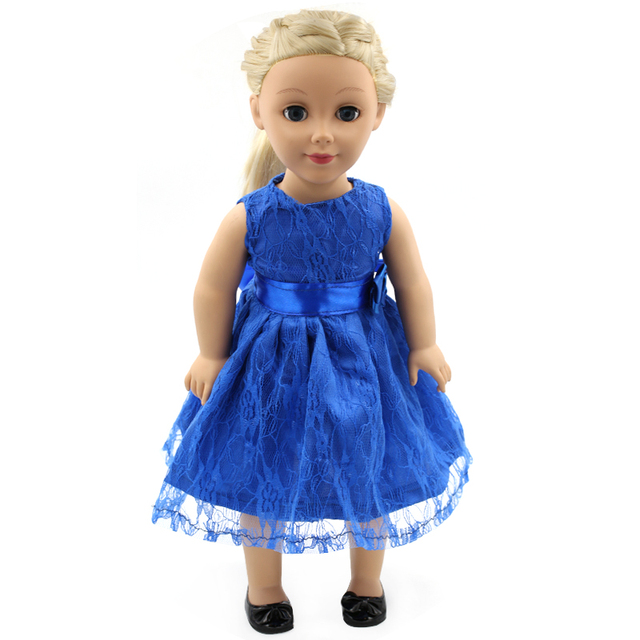 Синий Бантом Кружева Платье Sleeveness Подходит 18 Дюймов Куклы Одежда для American Girl, мадам Александр