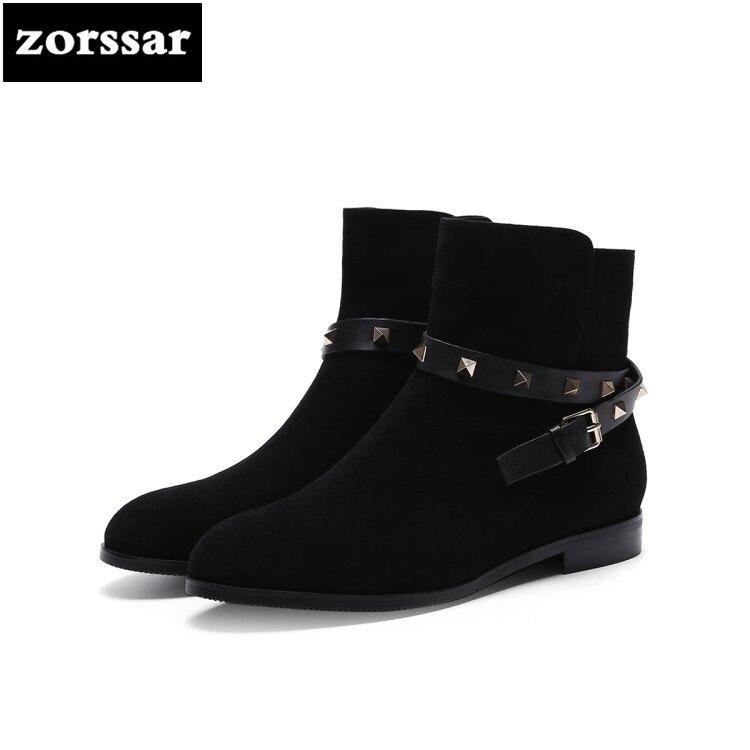 989c7220540 Tobillo No Gamuza Fur Nieve De Mujeres Moda Planos Fur Mujer E Zapatos  Otoño Botas black La 2018 Para Remache Invierno ...
