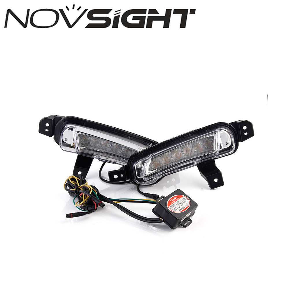 NOVSIGHT Auto Car LED DRL Daytime Running Light Driving Fog Lamps Yellow Turn Signal For Suzuki Vitara 15-16 Free Shipping  new 2x 4 led round drl daytime running driving auto car fog light lamps bulb kit set car accessories