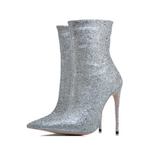 08f2d3c0ded0d Kcenid Big size 33-43 winter new designer glitter shoes woman sexy pointed  toe 12cm