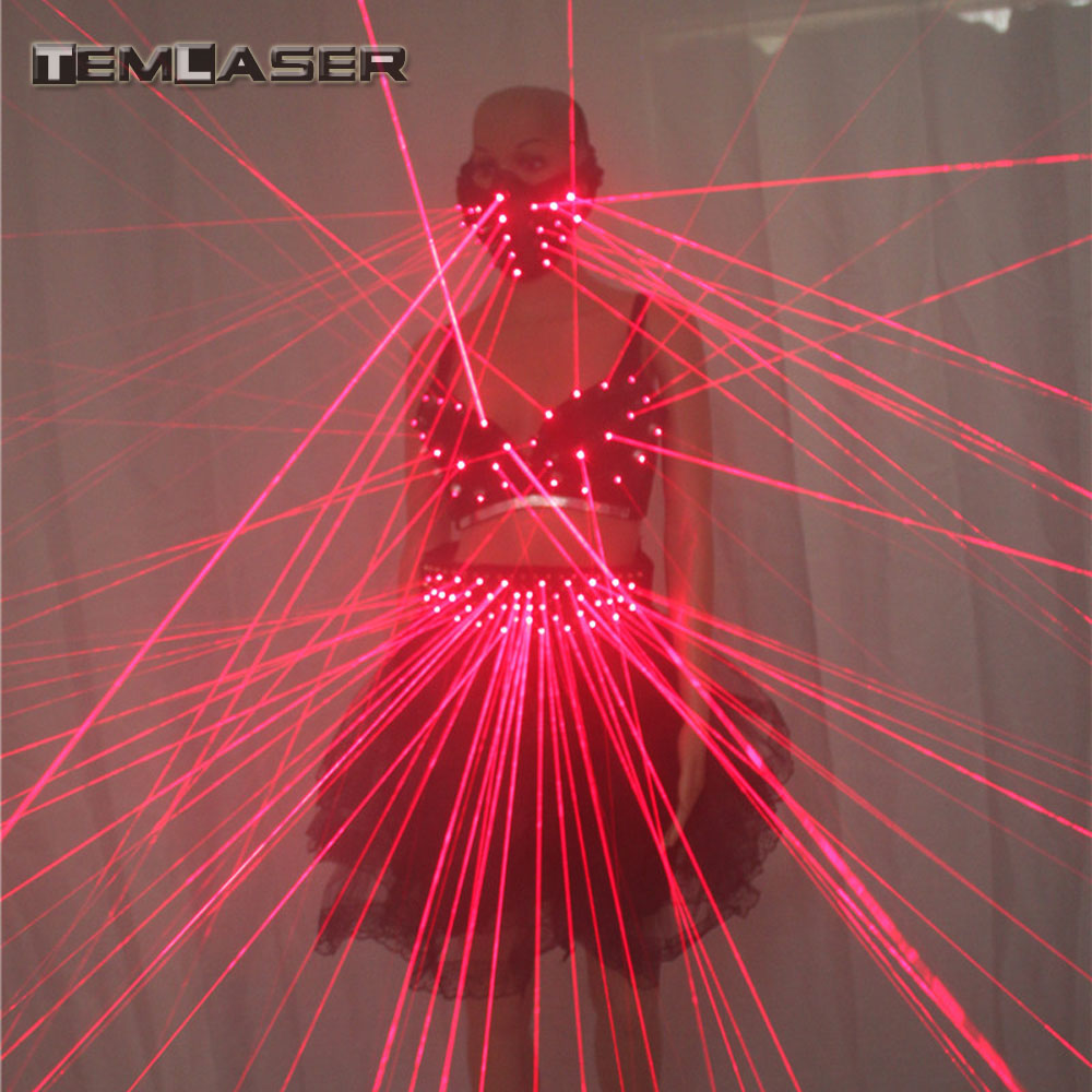 2017 Sexy Lady Beklædning Laser Bra og Girdle Laser Rød Laser Mask For Night Club Led Lysende Sexy Women Suit Laser Show