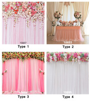 8X8ft Flowers Curtains Party Table Backdrop Photo Background For Wedding Children Fond Studio Vinyl Cloth Photography