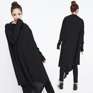 Image 2 - [EAM] 2020 חדש אביב חורף גבוה צווארון ארוך שרוול שחור סדיר Hem Loose גדול גודל ארוך שמלת נשים אופנה גאות JG636