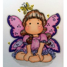butterfly girl cartoon pattern Stamp And metal die Scrapbooking Alphabet Embossing Craft Silicone Transparent Stamps