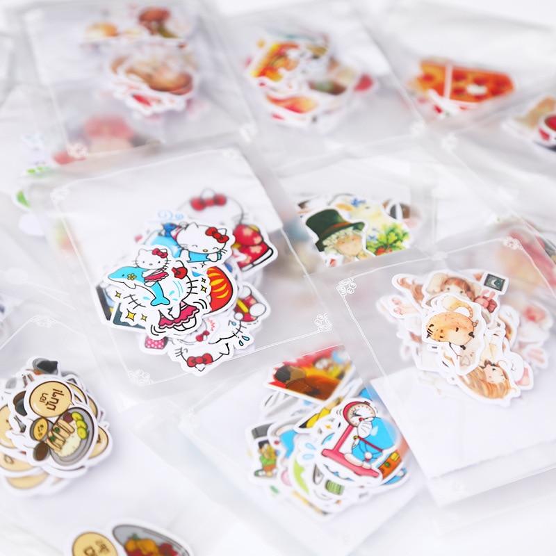 1Pack Cute Cartoon Japanese Doraemon Kitty Meng Animals PVC Stickers Daily Scrapbooking Stationery School Supplies Sticker M0307