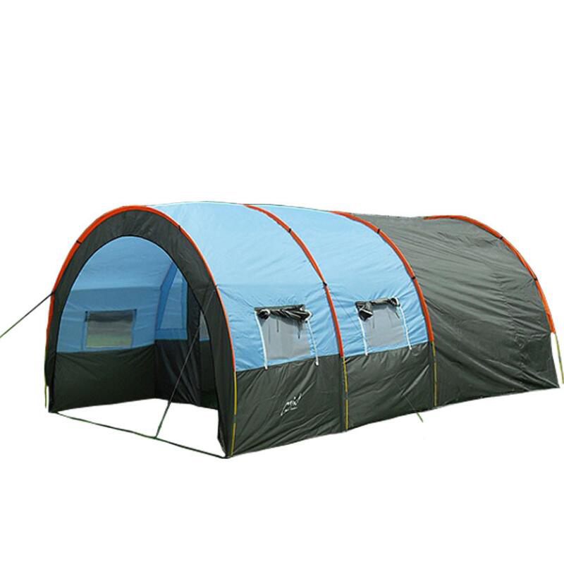 Grande tente de Camping toile imperméable en fibre de verre 5 8 personnes Tunnel familial 10 personnes tentes équipement extérieur alpinisme fête