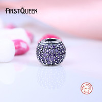 FirstQueen 925 Sterling Silver Purple Pave Ball Charms Fit Bracelet & Necklace Bear DIY Jewelry Christma Gift Jewelry E