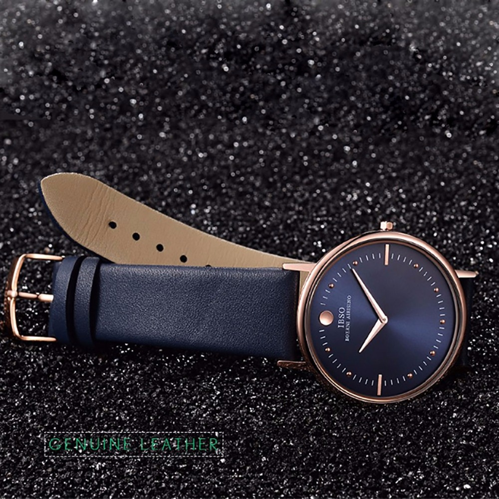 Image 5 - New IBSO Mens Fashion Watches 7.5MM Ultra Thin Rose Gold Watches Blue Leather Strap Analog Quartz Watches Relogio Masculino 1615Womens Watches   -