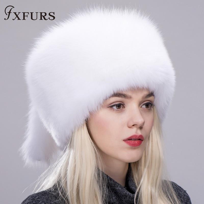 FXFURS Women winter fur cap real fox raccoon fur hat with fur tails new fashion Russian
