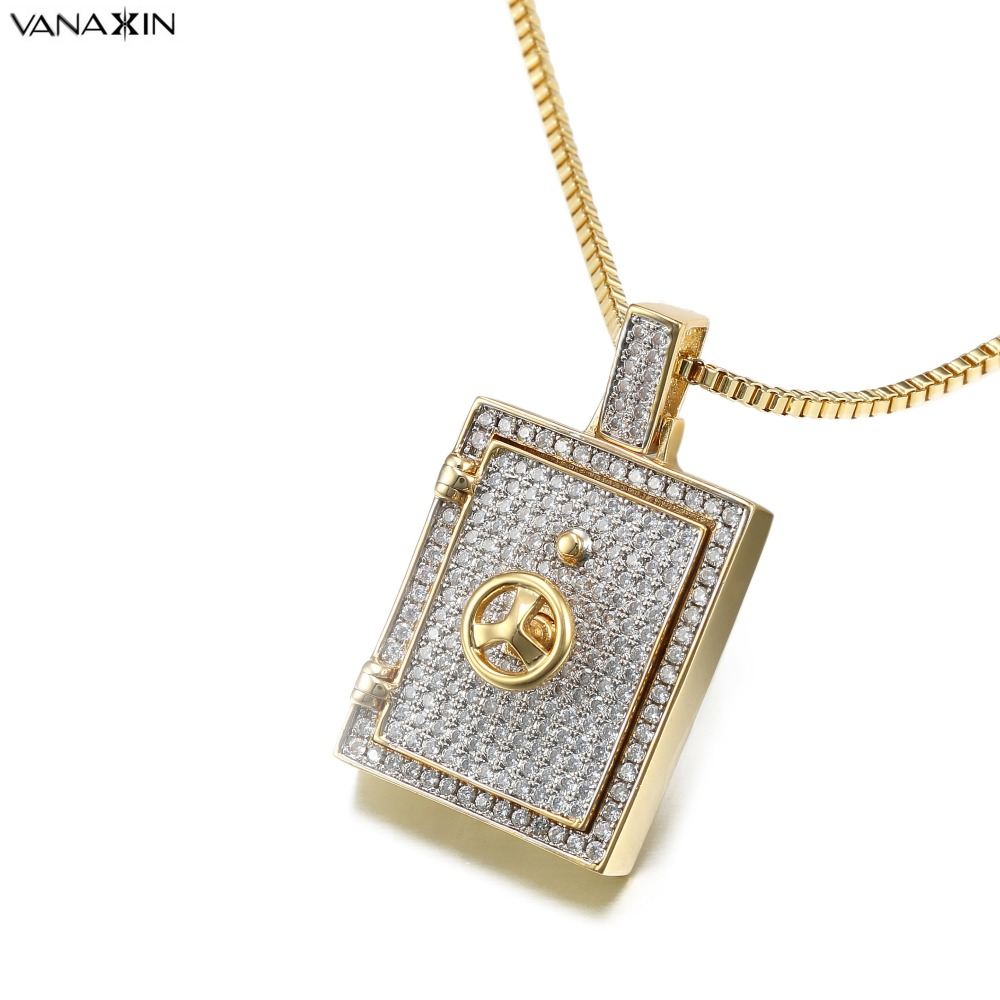 VANAXIN Steering Wheel Phone Frame Pendant Necklaces for Men Women Hip Hop Iced Cubic Zirconia Full Fashion Jewelry Gold ColorVANAXIN Steering Wheel Phone Frame Pendant Necklaces for Men Women Hip Hop Iced Cubic Zirconia Full Fashion Jewelry Gold Color