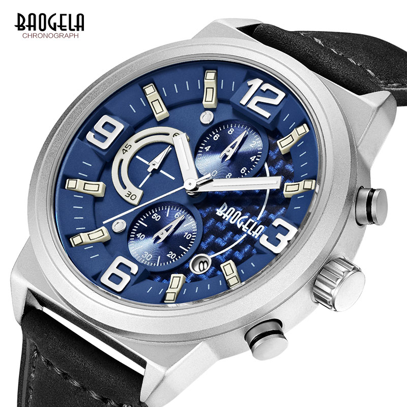 BAOGELA Chronograph Quartz Watches for Men Fashion Sports Wrist Watch for Man Leather Strap Analogue Display 1709Silver Blue in Quartz Watches from Watches