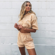 Short Sleeve Hoodies Shorts Summer 2 Two Piece Sets Women Khaki  Sweatsuits Casual Hooded Crop Tops Shorts Tracksuit Set Outfits streetwear two piece set women s costumes contrast color hooded crop top and skinny shorts female suits autumn sweatsuits zogaa