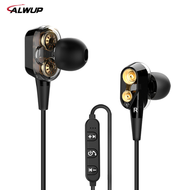 97bbf6eded6 ALWUP S10 Double Dynamic Hybrid Bluetooth Earphone Wireless Headphones Four  Unit Drive Deep Bass Earphone for Phone with mic 5.0