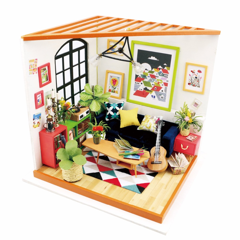 1:12 LED 3D Wooden Puzzle Model Miniatures Sofa Sets Doll House Furniture Living Room DIY Collection Christmas Toys For Children