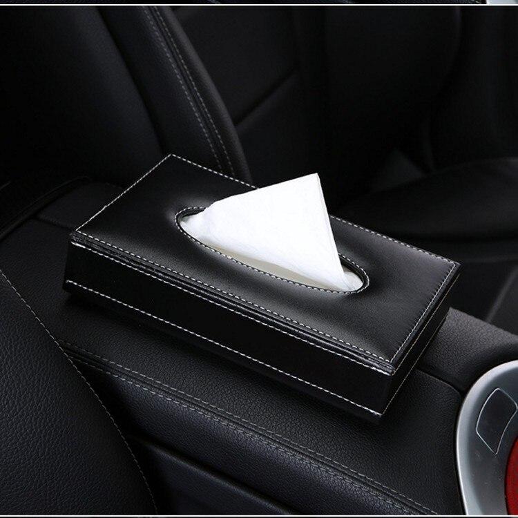 Шикарная Хрустальная автомобильная коробка для салфеток, роскошный бумажный чехол из искусственной кожи, автомобильный держатель, чехол, лоток для дома, офиса, автомобиля - Название цвета: leather