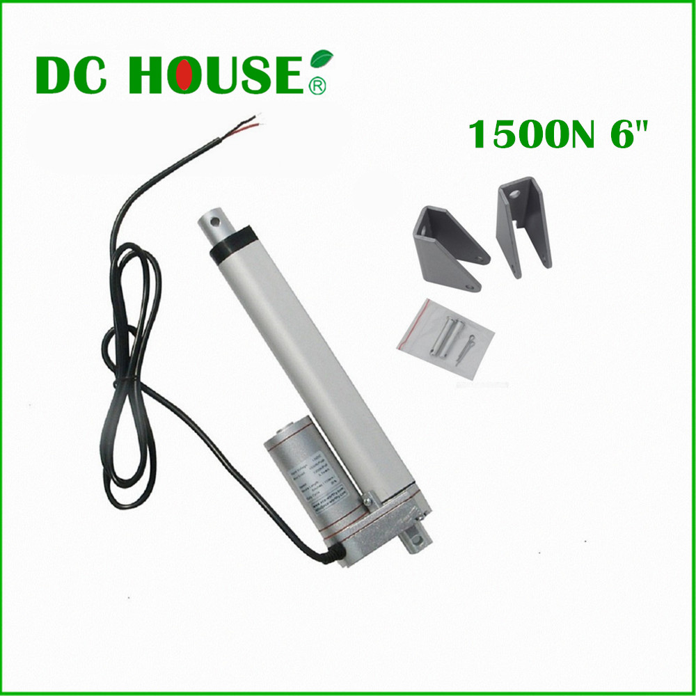 ФОТО DC HOUSE 6inch 12V 5.7mm/s Solar Tracker 150mm 15000N  Linear Actuator multi-purpose Linear Actuator &  Mounting Brackets