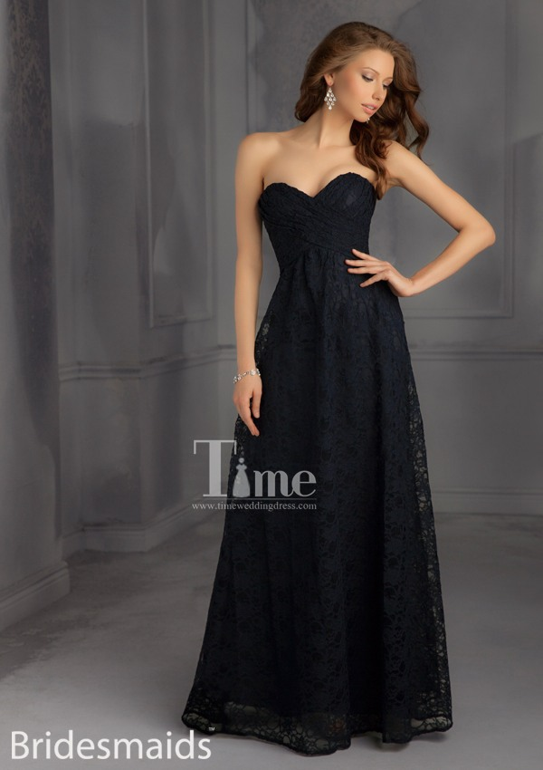 Long Black Lace Bridesmaid Dresses 2014 Navy Blueredorangegreen