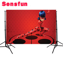 7x5ft Vinyl Photocall Ladybug Girl Dance Red Wall Custom Photo Studio Background Backdrop(China)
