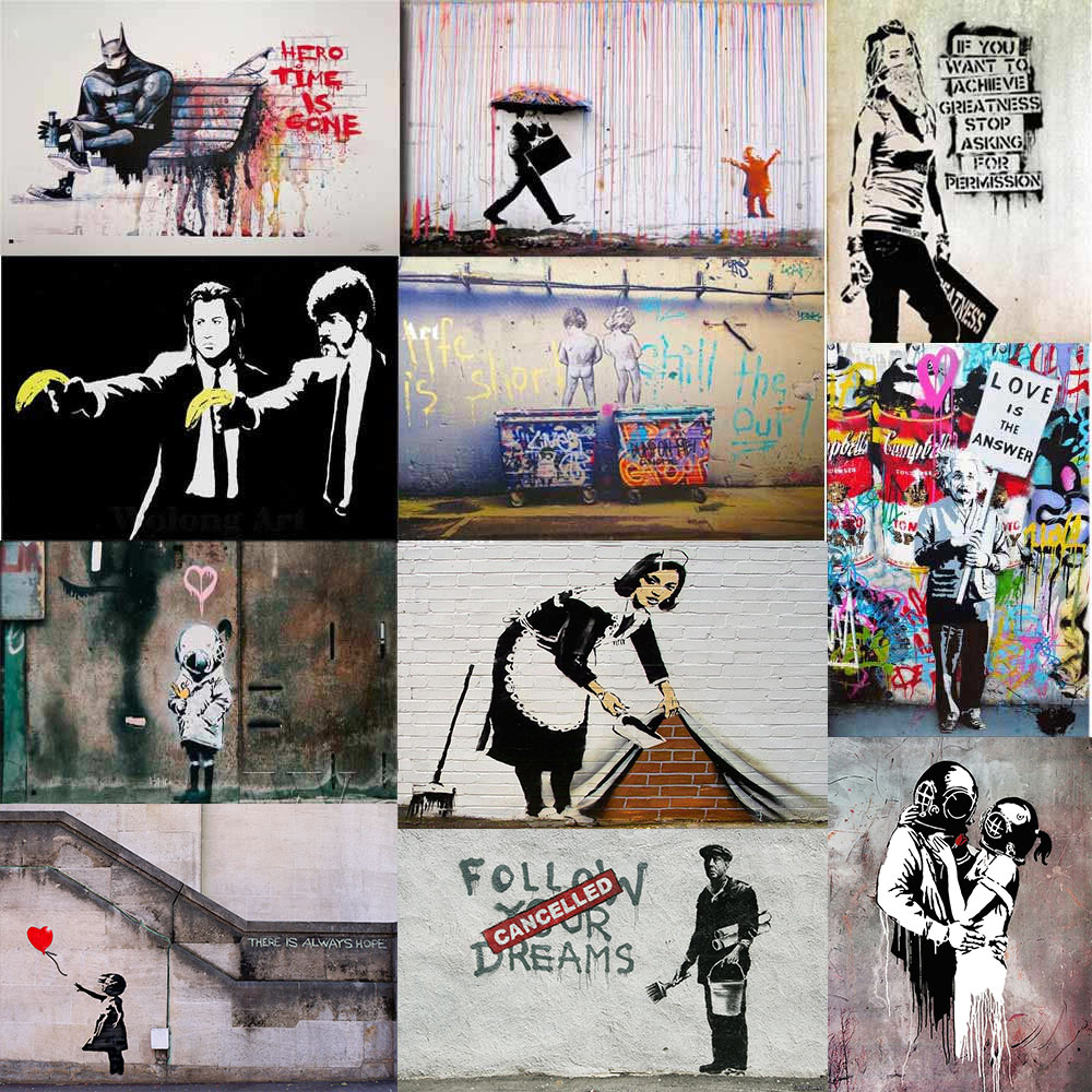 Banksy Canvas Art Banksy Hero Time Is Gone Canvas Art Prints Paintings Wall Art
