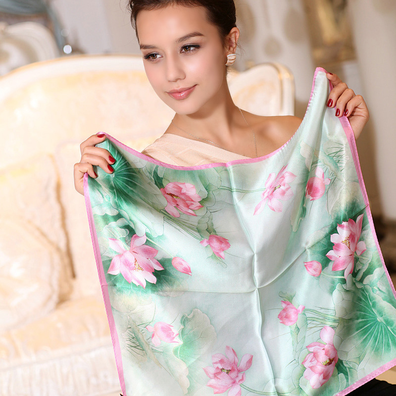 [BYSIFA] Small Facecloth Women Silk Scarf Chinese Lotus 100% Pure Silk Satin Scarves Female Summer Green Pink Small Square Scarf