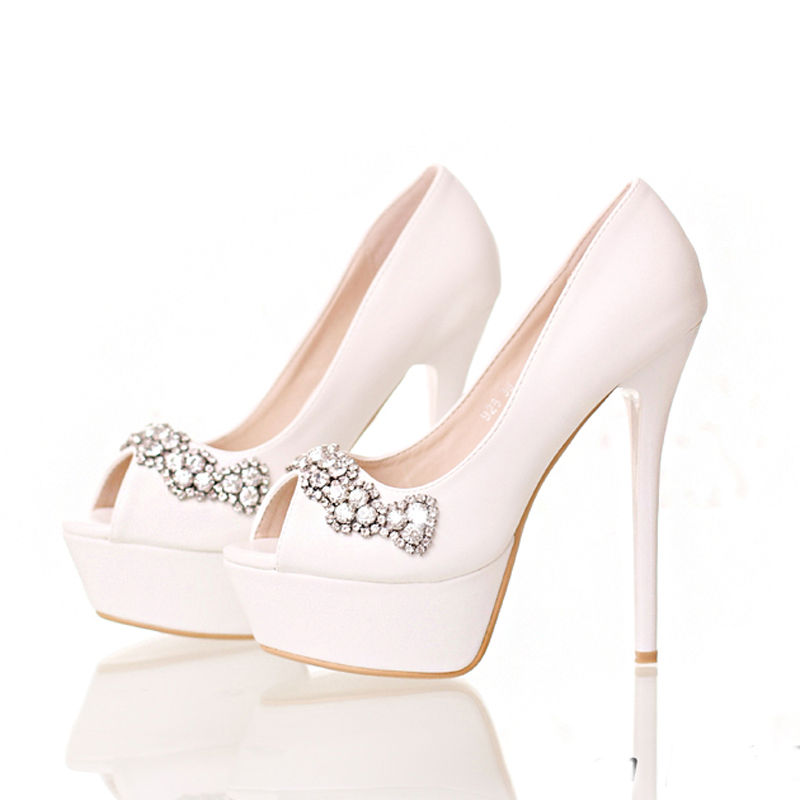 Red Pink Color Platform Bride Dress Shoes Stiletto Heel Bridesmaid Shoes White Peep Toe High Heels Crystal Wedding Party Shoes acacia stainless steel dual layer warming water bottle deep blue 750ml