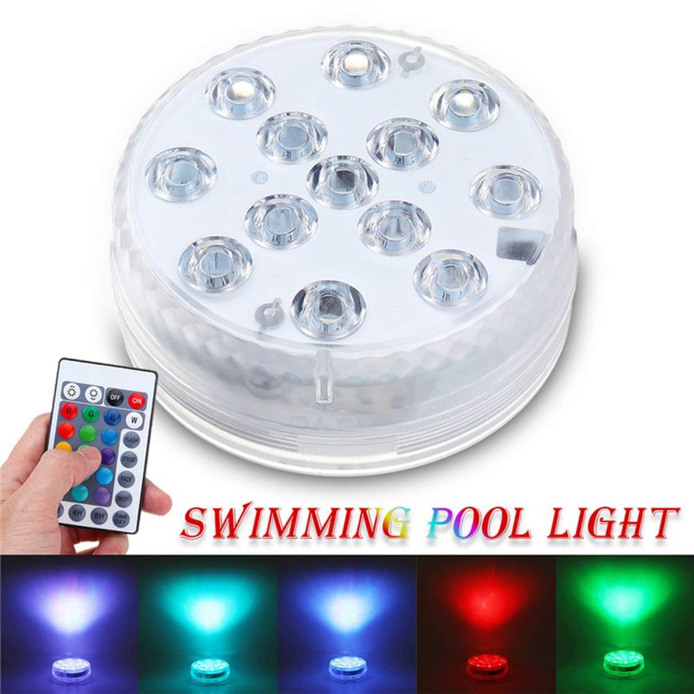 13 Led Rgb Tauch Licht Fernbedienung Batterie Betrieben Unterwasser Nacht Lampe Außen Vase Schüssel Garten Party Dekoration Harmonische Farben