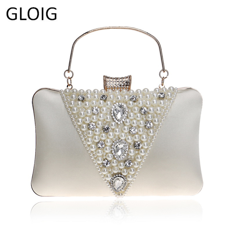GLOIG Vintage Style Embroidery Beaded Women Evening Bags Diamonds Metal V Design Pearl Day Clutch Purse Bags For Female Purse
