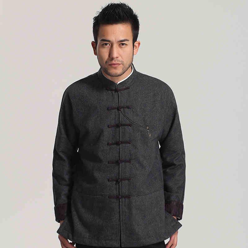 High Quality Gray Chinese Men S Wool Kung Fu Jacket Winter Thick Warm Coat Mandarin Collar