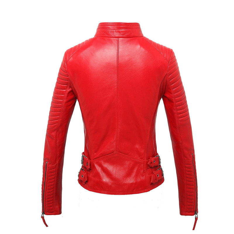 100% Real Sheepskin Coat Female Genuine Leather Jacket Short Slim Jackets For Women Outerwear 22