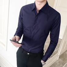 Men Shirt Long Sleeve Regular Slim Fit Solid Basic Dress Shirts Male Social Casual Camisa Masculina 6 Colors Streetwear цена
