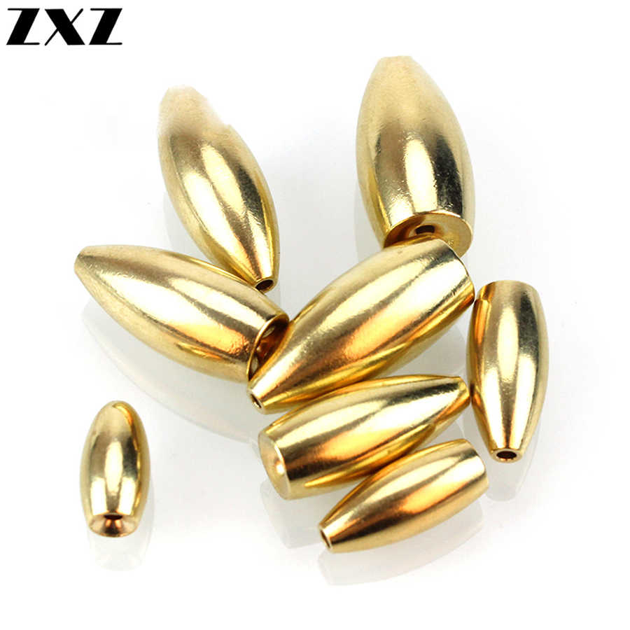 100Pcs Fishing Tungsten Sinkers 3.5g/5g/7g/14g/17g Bullet Shape Thread Gold Copper Brass Weight Tackle Sinking lure Accessories