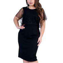 Plus Size Women Dress Summer Mesh Elegant Black Midi Dress Ladies Office Work Dress Bodycon Bandage Dress Vestidos 5XL 6XL(China)