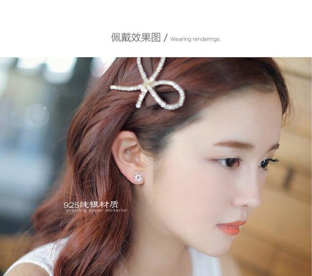 Pendientes de Estrella de David de Color plata coreana para mujer Pendientes de novia de boda Pendientes Brincos joyería de moda regalo