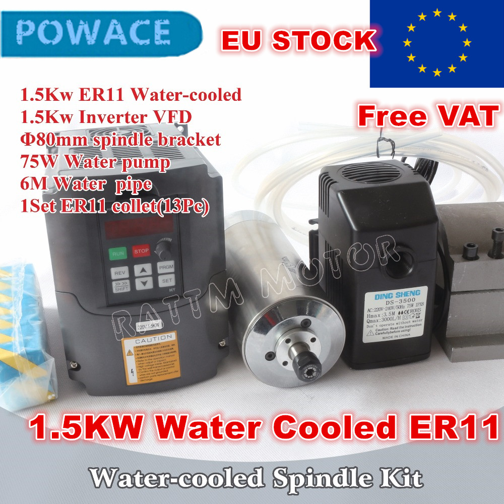 Moteur de broche refroidi à l'eau 1.5KW ER11 et pince et pompe/tuyau 1.5KW VFD et 80mm et pince ER11 (1-7mm) pour routeur de CNC