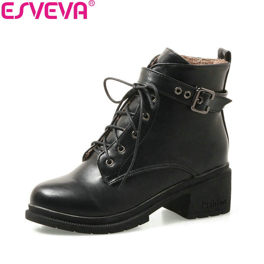 ESVEVA 2018 Women Boots inside Warm Fur Square High Heel Out Door Ankle Boots PU Leather Western Style Ladies Shoes Size 34-43 vinlle women boot square low heel pu leather rivets zipper solid ankle boots western style round lady motorcycle boot size 34 43