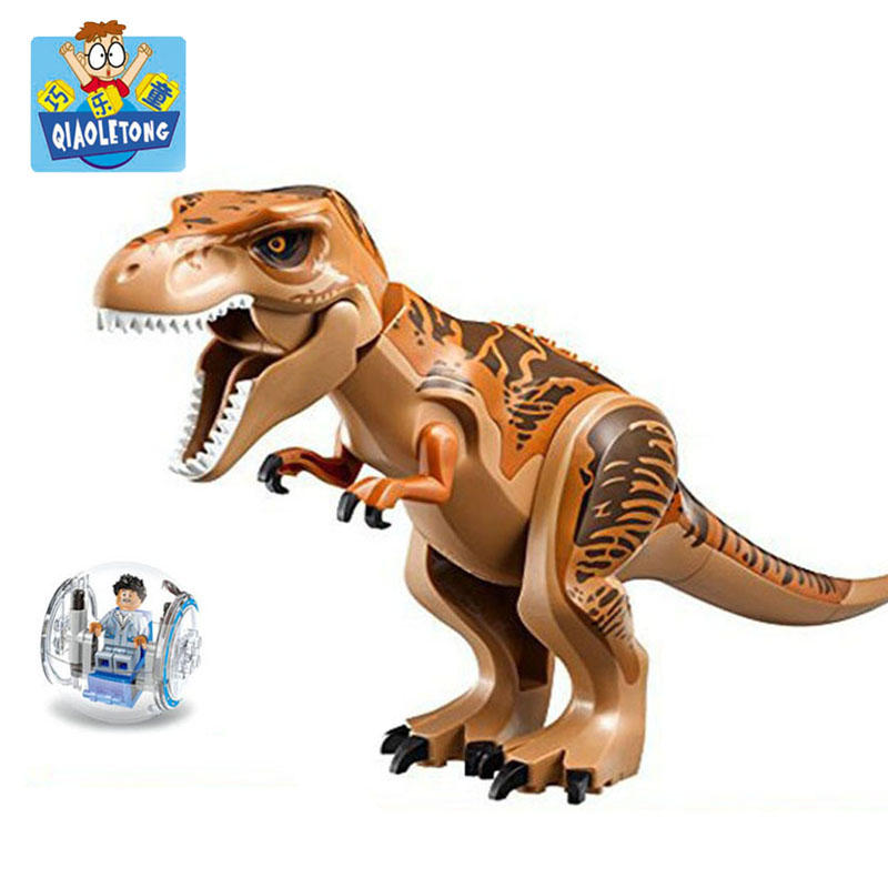 QIAOLETONG Jurassic dinosaur Tyrannosaurus rex DIY Model Legoings Building Blocks Kits Toys For Children Birthday Gift Kid's Fun 37 cm tyrannosaurus rex with platform dinosaur mouth can open and close classic toys for boys animal model without retail box