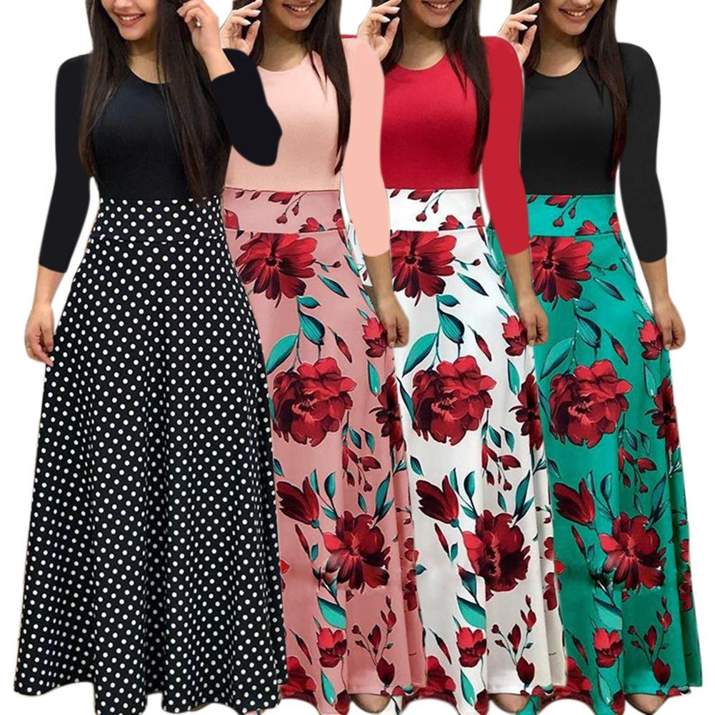 Nuevo estilo europeo y americano Otoño e Invierno estampado de manga larga cuello redondo vestido de moda Casual adelgazante elegante vestido largo de fiesta