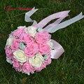 Мода букет де mariage Фиолетовый Розовый Красный Искусственный Роуз Свадебные Букеты с Лентой Ручной Работы Свадебные Цветы Свадебные Букеты