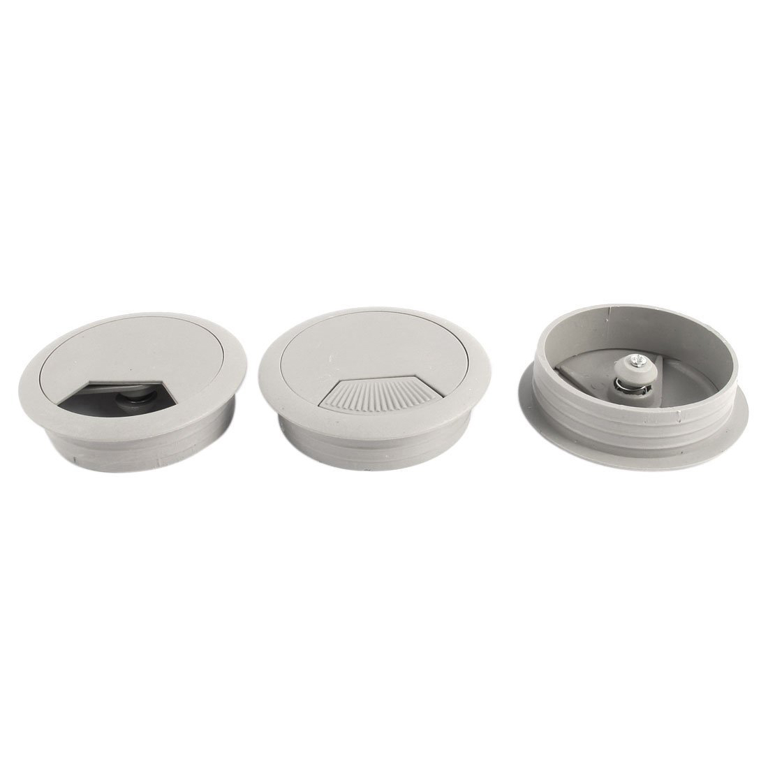 3Pcs Round Plastic Computer Desk Grommet Cable Hole Cover Gray legare straight desk gray driftwood