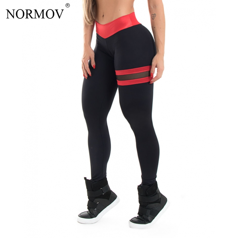 NORMOV Push Up Leggings Women Gothic Fitness Clothing Workout Mesh High Waist Pants Female Breathable Patchwork Sportswear