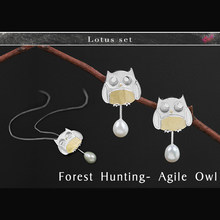 Lotus Fun Real 925 Sterling Silver Creative Handmade Fine Jewelry Forest Hunting Subject Agile Owl Jewelry Set(China)
