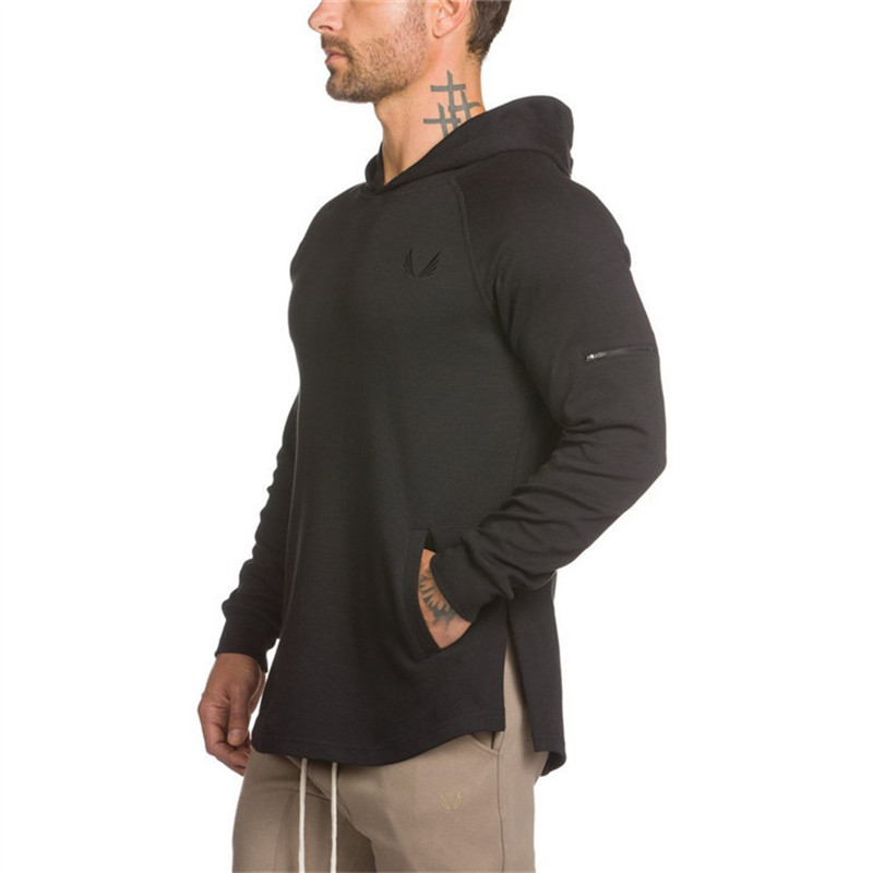 2019 Men Sport Hoodies Bodybuilding Hoodies Sweatshirts Gym Running Jacket Training Exercise Fitness Dry Fit Clothes Tops